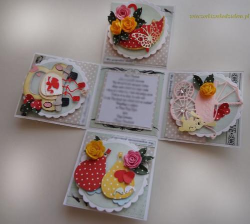 Karteczka ręcznie robiona, ślub, życzenia,