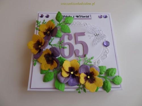 Karteczka ręcznie robiona, rocznica słubu, 65lat