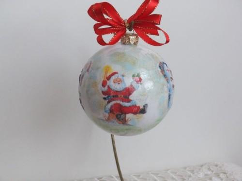 DSC bombka, kula,święta , Boże Narodzenie, decoupage