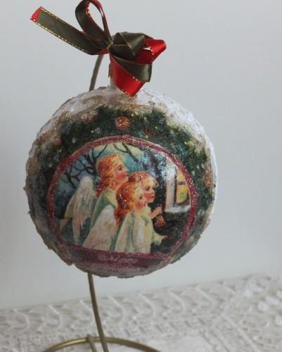 bombka, kula,święta , Boże Narodzenie, decoupageDSCF1532