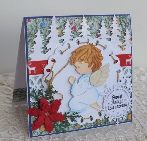 karteczka Boże Narodzenie, życzenia , ręcznie robiona   092