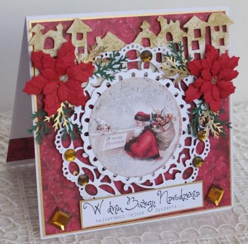 karteczka Boże Narodzenie, życzenia , ręcznie robiona   karteczki 090