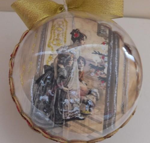 DSCF1788Bombka decoupage, święta Bożego Narodzenia8