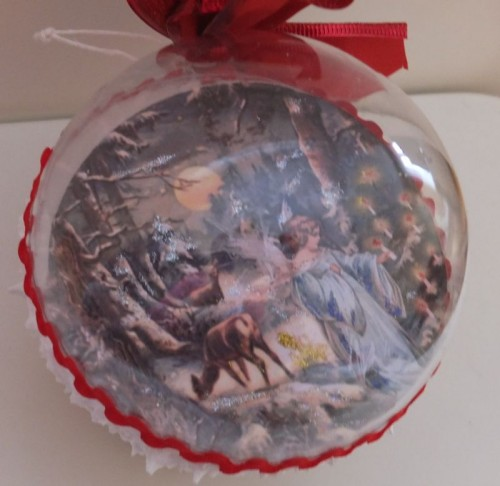 DSCF1790Bombka decoupage, święta Bożego Narodzenia8