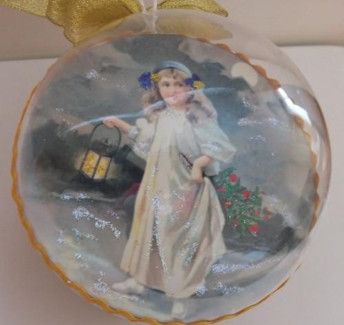DSCF1792Bombka decoupage, święta Bożego Narodzenia8
