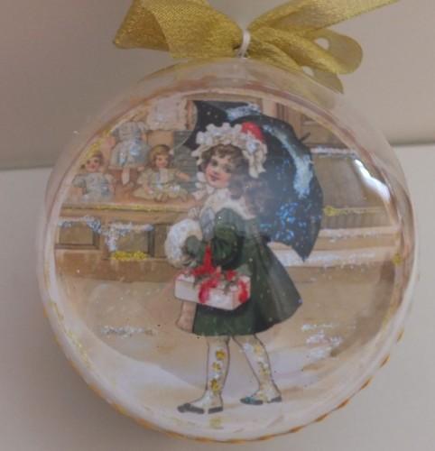 DSCF1793Bombka decoupage, święta Bożego Narodzenia8