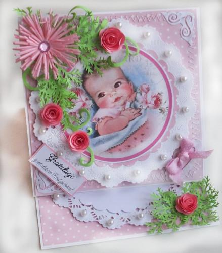 karteczka ręcznie robiona, narodziny , gratulaje życzenia dla Rodziców dziecka