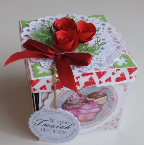 exploding box, karteczka życzenie, urodziny, imieniny