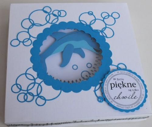 Delfinek życzenia na urodziny  karteczka ręcznie robionaDSCF2264