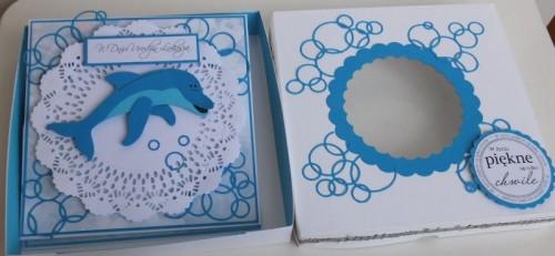 Delfinek życzenia na urodziny  karteczka ręcznie robionaDSCF2265