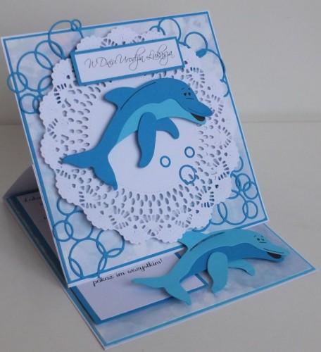 Delfinek życzenia na urodziny  karteczka ręcznie robionaSCF2267