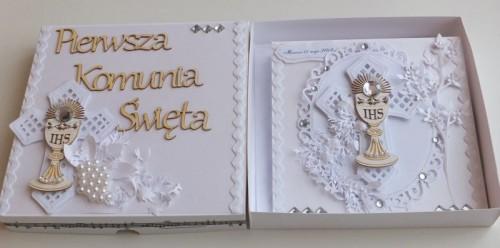 Pamiątka Pierwszej Komnunii Świętej, karteczka ręcznie robionaCDSCF2556