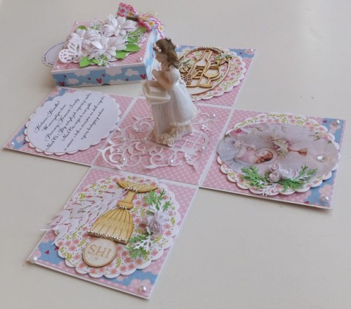 Pamiątka Pierwszej Komnunii Świętej, karteczka ręcznie robionaCDSCF2571
