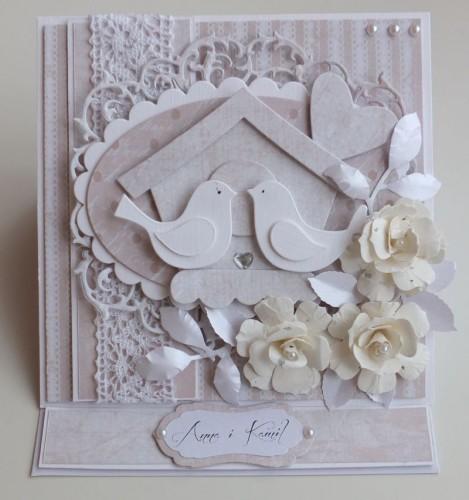 Karteczka ręcznie robiona, ślub, życzenia, ptaszki DSCF2820
