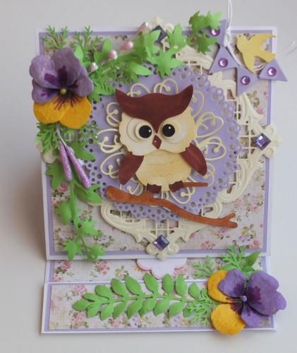 Karteczka ręcznie robiona, podzięowanie dla nauczyciela, sówka wykrojnik sizzix, memory box,joy DSCF2895