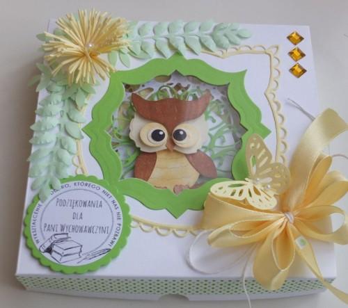 Życzenia dla nauczyciela, sówka, wykrojnik, sizzix, memory box, joy, cottage cutz karteczka DSCF2939