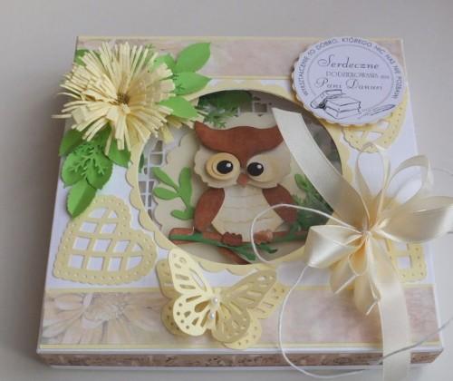Życzenia dla nauczyciela, sówka, wykrojnik, sizzix, memory box, joy, cottage cutz karteczka DSCF2952