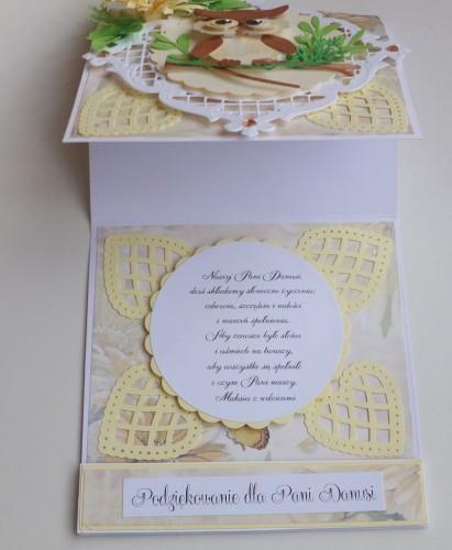 Życzenia dla nauczyciela, sówka, wykrojnik, sizzix, memory box, joy, cottage cutz karteczka DSCF2955