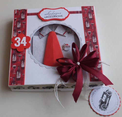 Urodzinowa męska karteczka, wykrojnik memory box, origami,DSCF2983