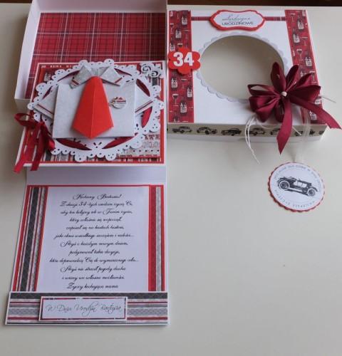Urodzinowa męska karteczka, wykrojnik memory box, origami,DSCF2984