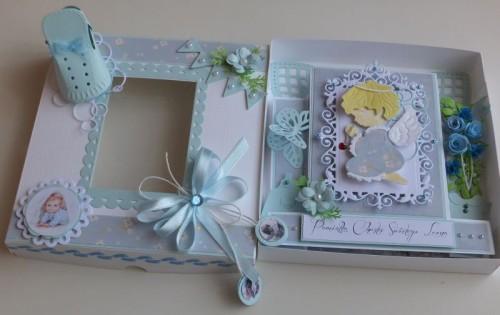 chrzest święty , pamiątka, życzenia, aniołek wykrojnik sizzix, memory, box cottage cutz, MD, JoyDSCF3002