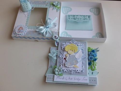 chrzest święty , pamiątka, życzenia, aniołek wykrojnik sizzix, memory, box cottage cutz, MD, JoyDSCF3004