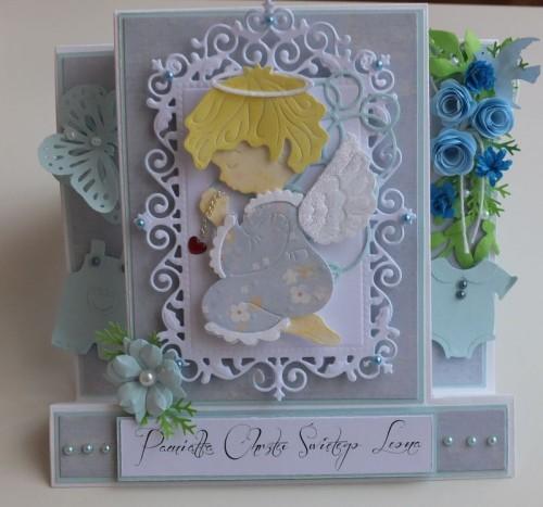 chrzest święty , pamiątka, życzenia, aniołek wykrojnik sizzix, memory, box cottage cutz, MD, JoyDSCF3005