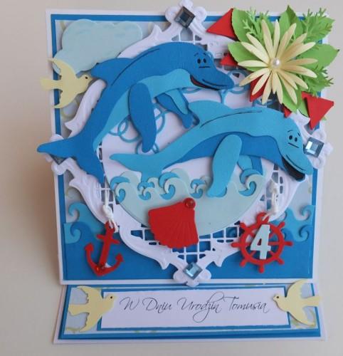 delfinki, wykrojnik cottage cutz, joy, impresion obsesion,memory box, życzenia karteczka dla dzieci imieniny, urodziny, pamiątka DSCF3061