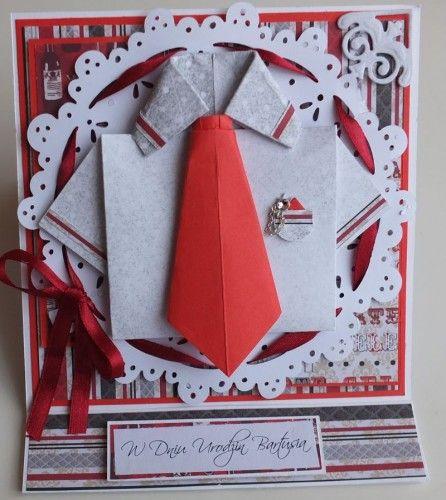 Urodzinowa męska karteczka, wykrojnik memory box, origami, DSCF2985