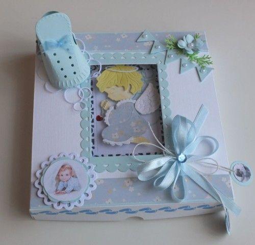 chrzest święty , pamiątka, życzenia, aniołek wykrojnik sizzix, memory, box cottage cutz, MD, JoyDSCF2999
