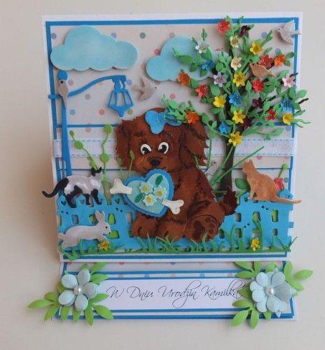 karteczka, życzenia, urodziny, dzieci, piesek, wykrojnik, cotagge cutz, memory box, Magnolia, MD, Joy, sizzixDSCF3057