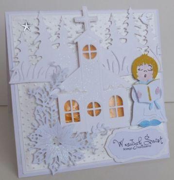 Boże Narodzenie, karteczka ręcznie robiona, życzenia, wykrojnik, aniołek, memory box, cottage cutz, sizixDSCF3280