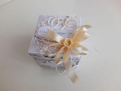 ślub, pamiątka, życzenia, eksploding box  karteczka recznie robiona wykrojnik, sizzix, memory box