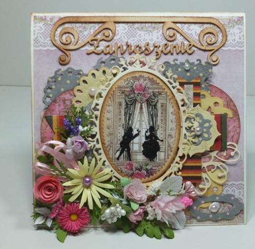 Zaproszenie, karnawał, kartka ręcznie robiona,wykrojnik, sizzix, memory box, cottage cutzz, marianna desing, marta stweart, DSCF3003