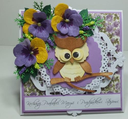 Dzień Babci, Dzień Dziadka, zyczenia, karteczka, sówka, kwiatuszki, wykrojnik, sizix sówka, DSCF3015