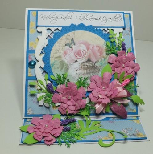 Dzień Babci, Dzień Dziadka, zyczenia, karteczka, sówka, kwiatuszki, wykrojnik, sizix , DSCF3105