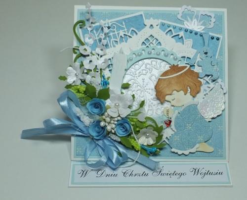 DSPamiątka chrztu świętego, kartka ręcznie robionaCF3083