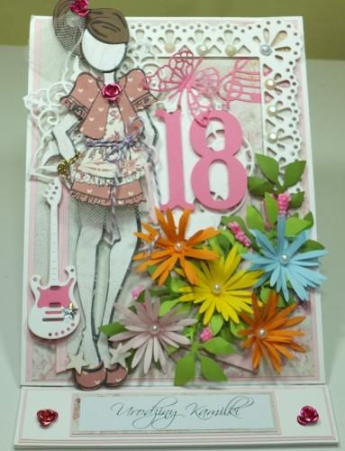 kartka ręcznie robiona 18 Urodziny stemple Julia DSCF4348