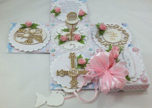 kartka ręcznie robiona, chrzest, komunia, prymicje, urodziny, ślub, haft pasja (104)