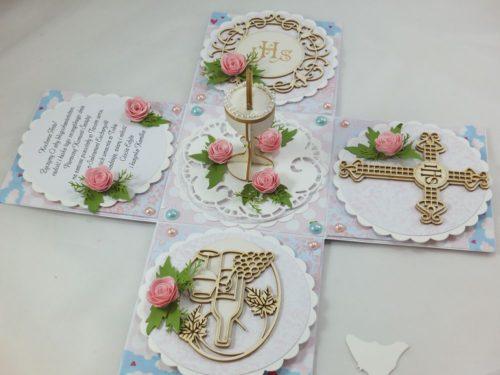 kartka ręcznie robiona, chrzest, komunia, prymicje, urodziny, ślub, haft pasja (105)