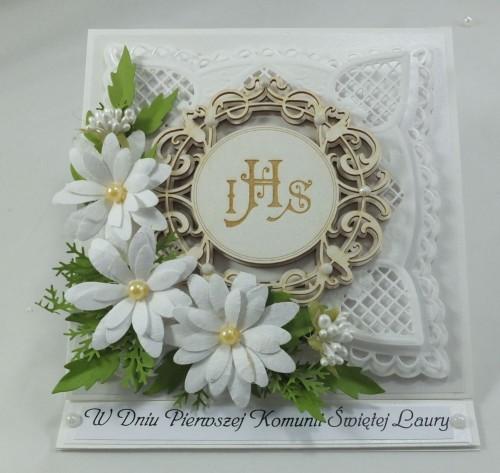 kartka ręcznie robiona, chrzest, komunia, prymicje, urodziny, ślub, haft pasja (121)