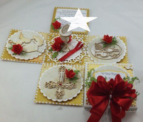kartka ręcznie robiona, chrzest, komunia, prymicje, urodziny, ślub, haft pasja (138)