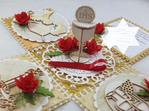 kartka ręcznie robiona, chrzest, komunia, prymicje, urodziny, ślub, haft pasja (139)
