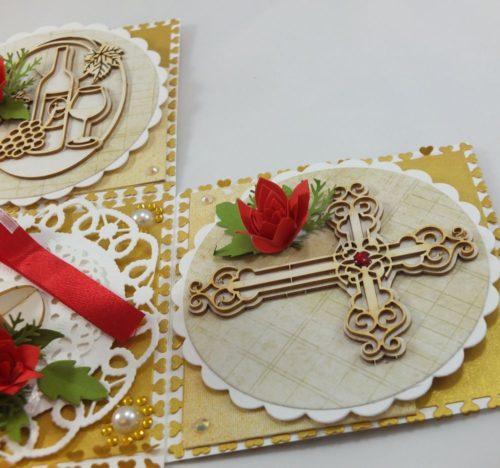 kartka ręcznie robiona, chrzest, komunia, prymicje, urodziny, ślub, haft pasja (141)