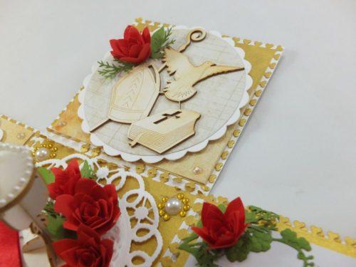kartka ręcznie robiona, chrzest, komunia, prymicje, urodziny, ślub, haft pasja (142)