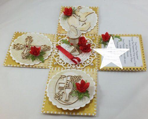 kartka ręcznie robiona, chrzest, komunia, prymicje, urodziny, ślub, haft pasja (143)