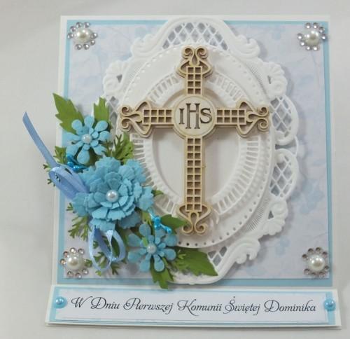 kartka ręcznie robiona, chrzest, komunia, prymicje, urodziny, ślub, haft pasja (81)