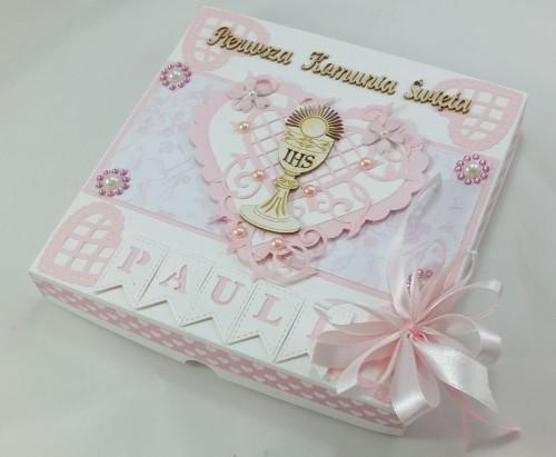 kartka ręcznie robiona, chrzest, komunia, prymicje, urodziny, ślub, haft pasja (85)